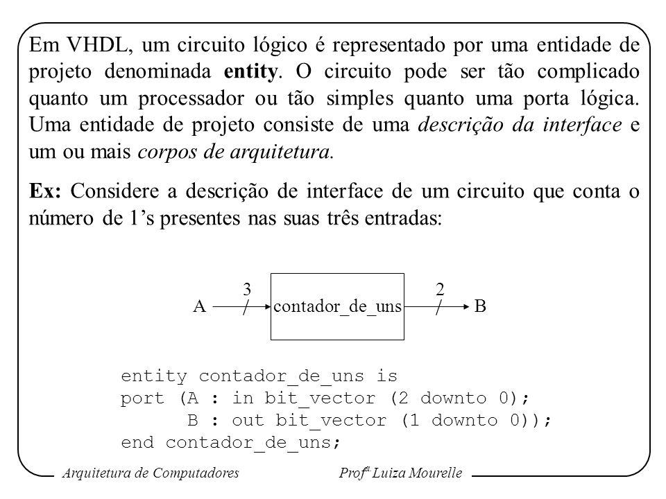 Arquitetura de Computadores Prof a. Luiza Mourelle Em VHDL, um circuito lógico é representado por uma entidade de projeto denominada entity. O circuit