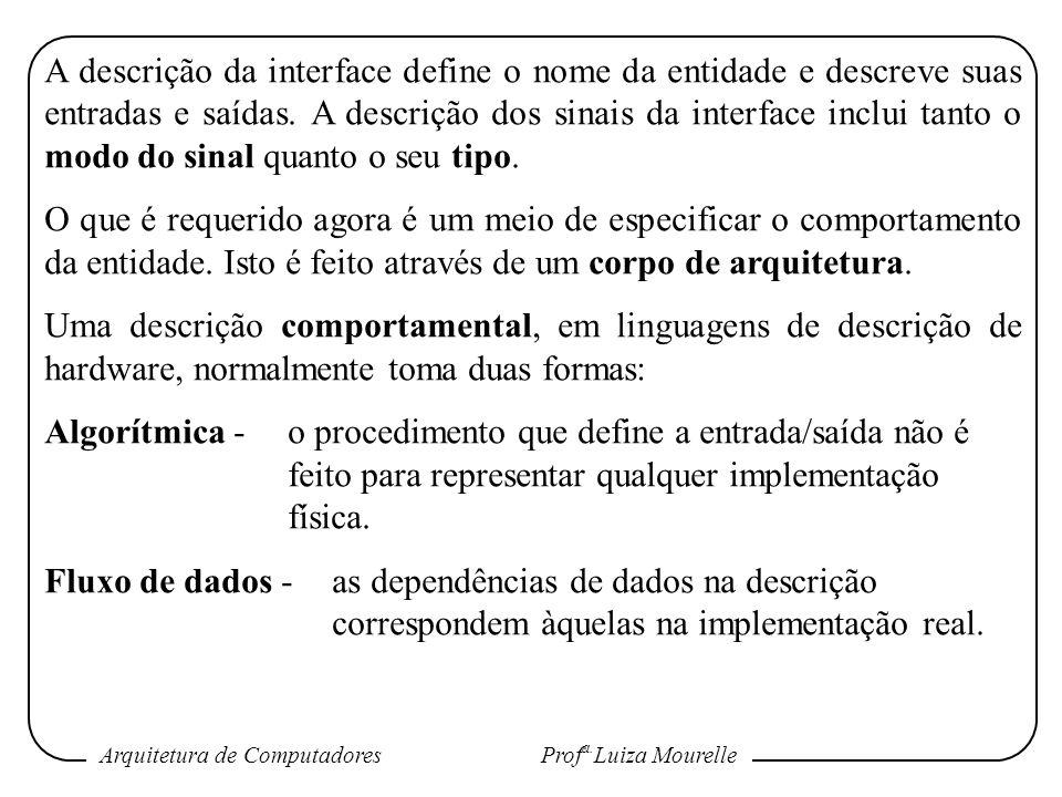 Arquitetura de Computadores Prof a. Luiza Mourelle A descrição da interface define o nome da entidade e descreve suas entradas e saídas. A descrição d
