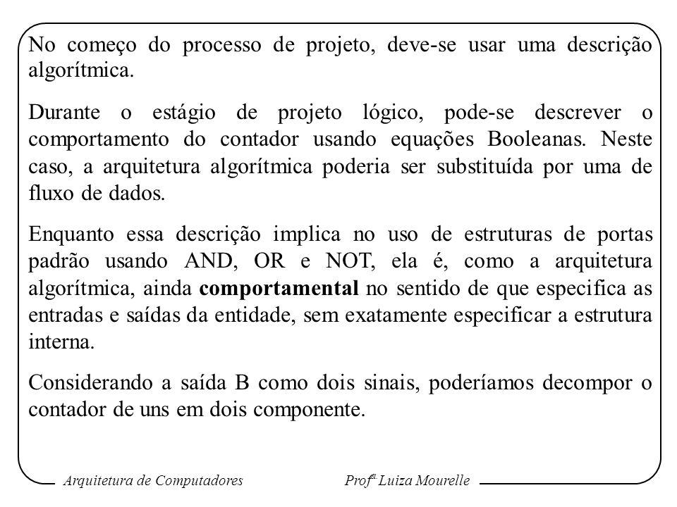 Arquitetura de Computadores Prof a. Luiza Mourelle No começo do processo de projeto, deve-se usar uma descrição algorítmica. Durante o estágio de proj