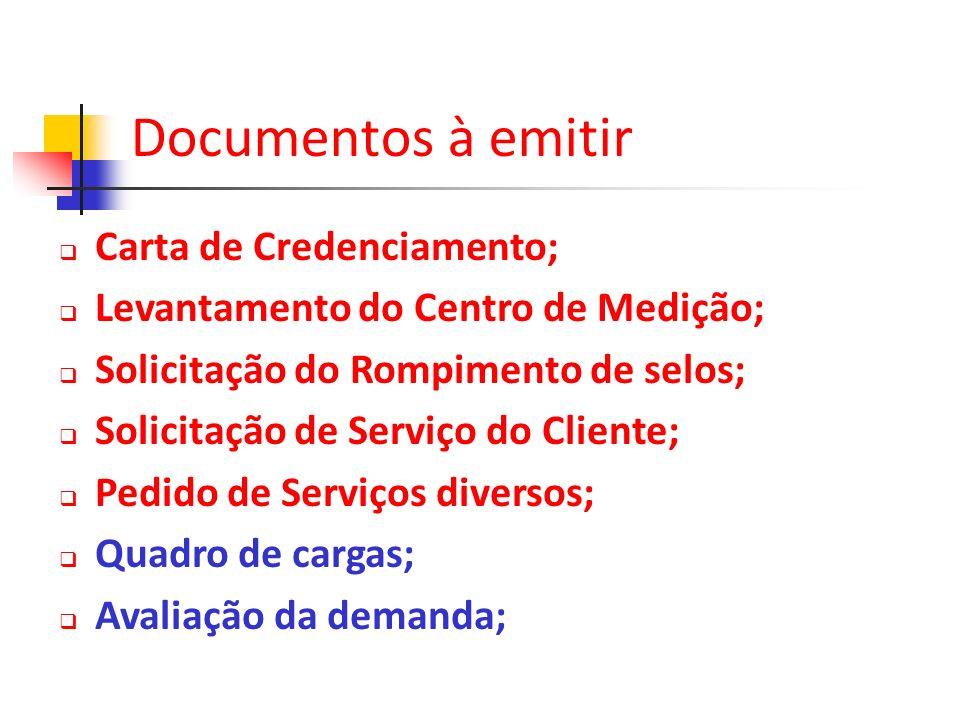 Carta de Credenciamento; Levantamento do Centro de Medição; Solicitação do Rompimento de selos; Solicitação de Serviço do Cliente; Pedido de Serviços
