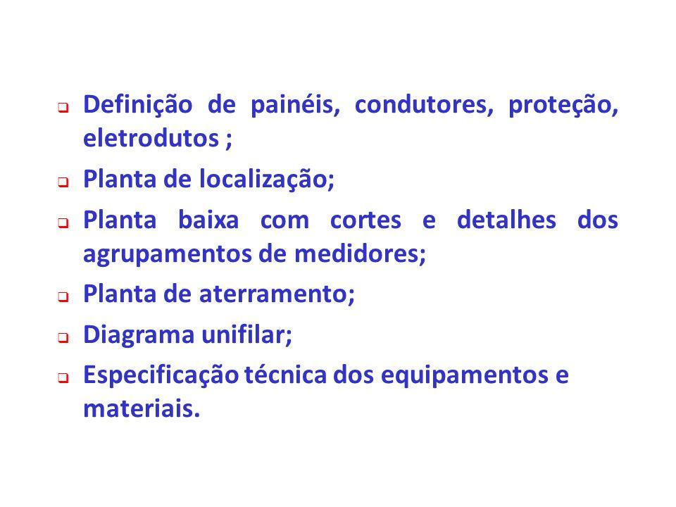 Definição de painéis, condutores, proteção, eletrodutos ; Planta de localização; Planta baixa com cortes e detalhes dos agrupamentos de medidores; Pla