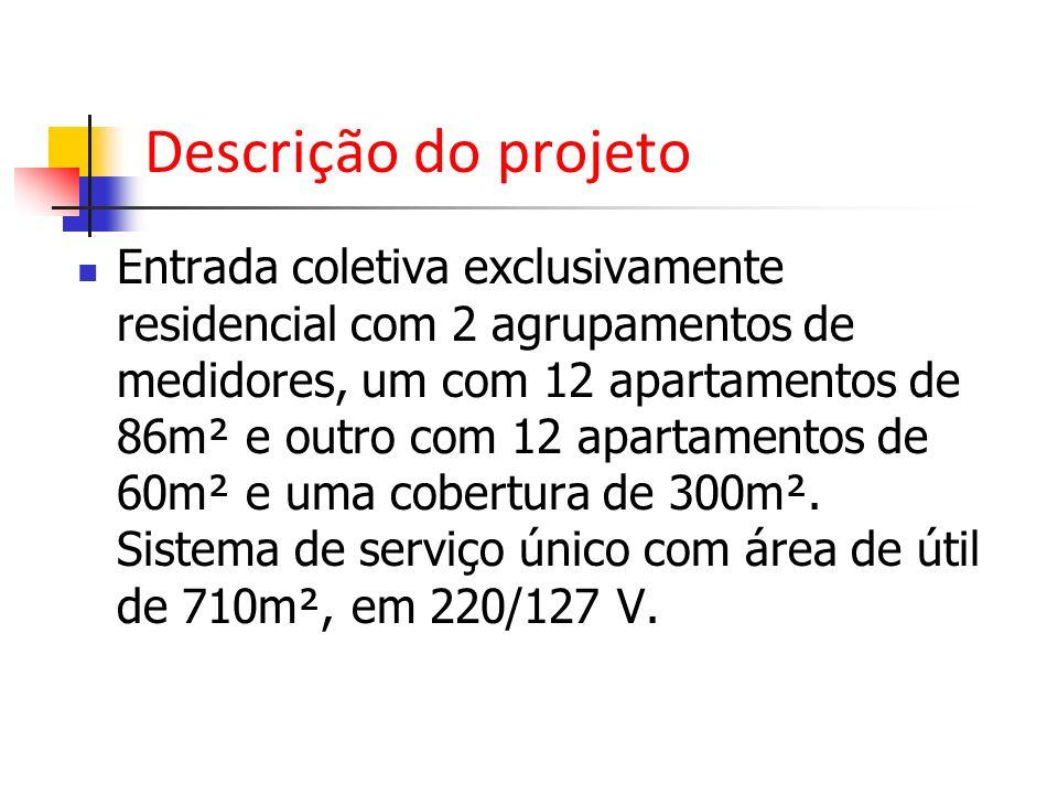 Descrição do projeto Entrada coletiva exclusivamente residencial com 2 agrupamentos de medidores, um com 12 apartamentos de 86m² e outro com 12 aparta