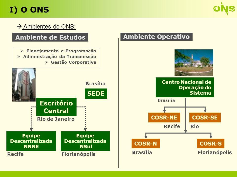 I) O ONS Os Centros de Operação: 13 CNOS - BRASÍLIA COSR-NCO - BRASÍLIA COSR-NE - RECIFE COSR-S - FLORIANÓPOLIS COSR-SE- RIO DE JANEIRO