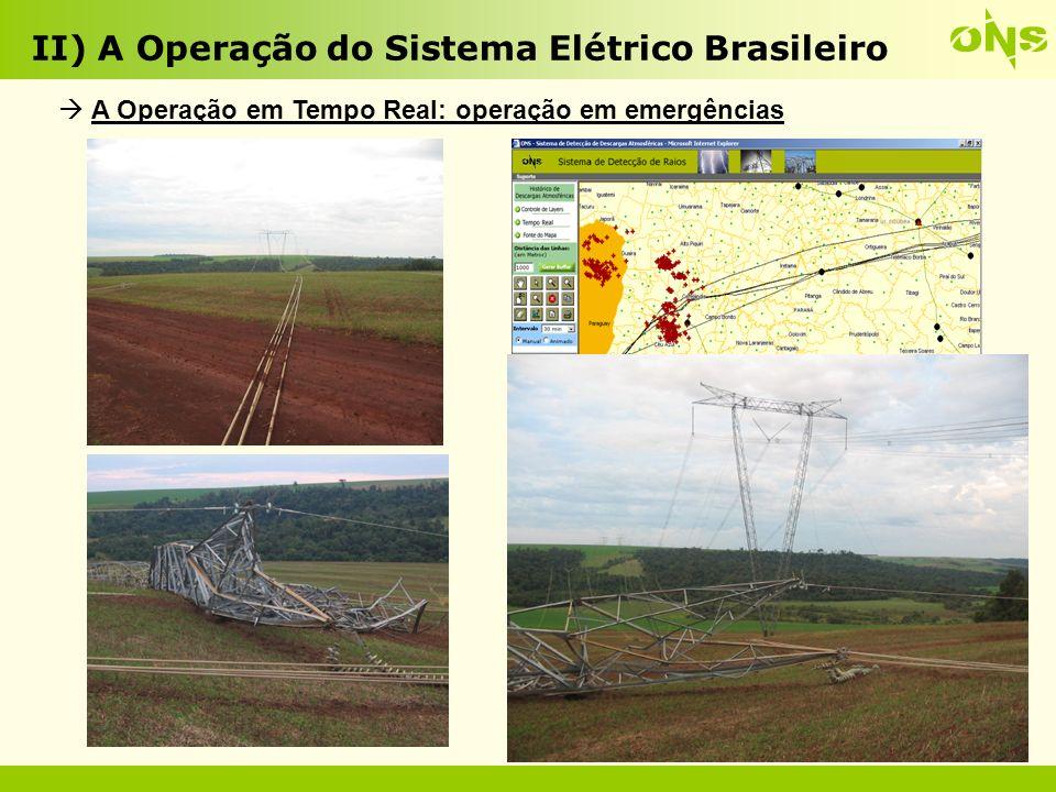 O SIN torna-se cada vez maior e mais complexo: Entrada de usinas a gás natural e carvão; Incorporação de grande quantidade de geração distribuída : PCHs,UTEs eólicas e biomassa (nesse caso existem inclusive lacunas regulatória com rebatimentos nos Procedimentos de Rede); Usinas hidrelétricas cada vez mais afastadas dos centros de carga (Amazônia); Linhas de transmissão cada vez mais longas e tensões mais elevadas; Interligação de Manaus ao SIN; Interligação das usinas do Rio Madeira; Uso de tecnologias tais como eletrônica de potência e transmissão em Corrente Contínua; II) A Operação do Sistema Elétrico Brasileiro Desafios do ONS para o futuro próximo