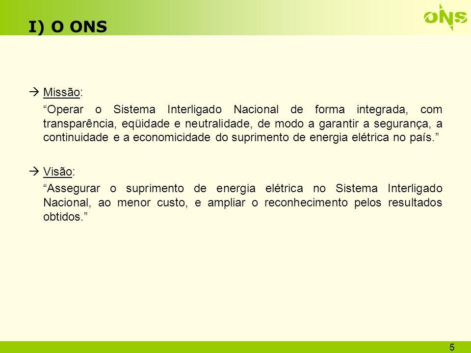I) O ONS Área de Atuação: Sistema Interligado Nacional - SIN 6