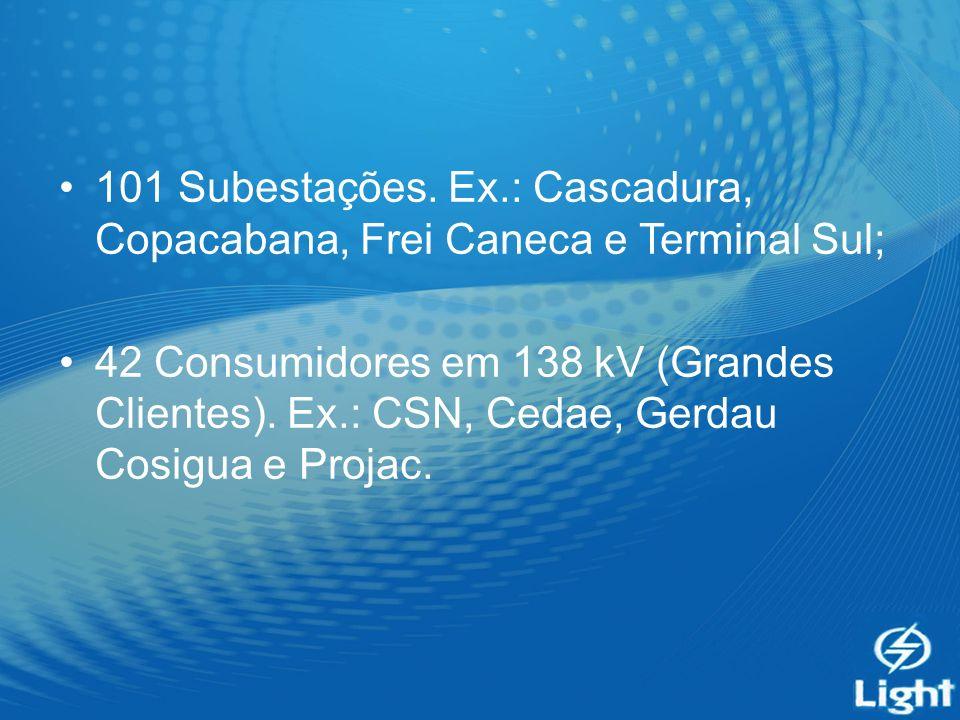 101 Subestações. Ex.: Cascadura, Copacabana, Frei Caneca e Terminal Sul; 42 Consumidores em 138 kV (Grandes Clientes). Ex.: CSN, Cedae, Gerdau Cosigua