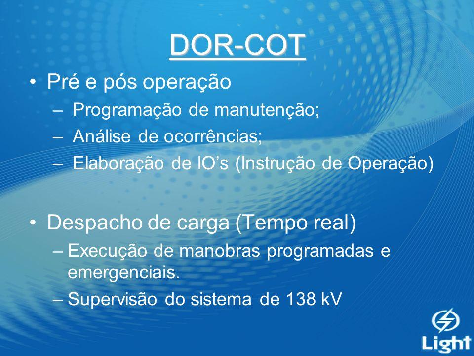 DOR-COT Pré e pós operação – Programação de manutenção; – Análise de ocorrências; – Elaboração de IOs (Instrução de Operação) Despacho de carga (Tempo real) –Execução de manobras programadas e emergenciais.
