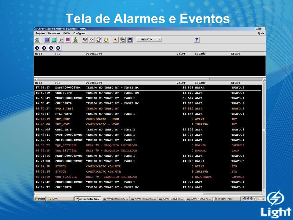 Tela de Alarmes e Eventos