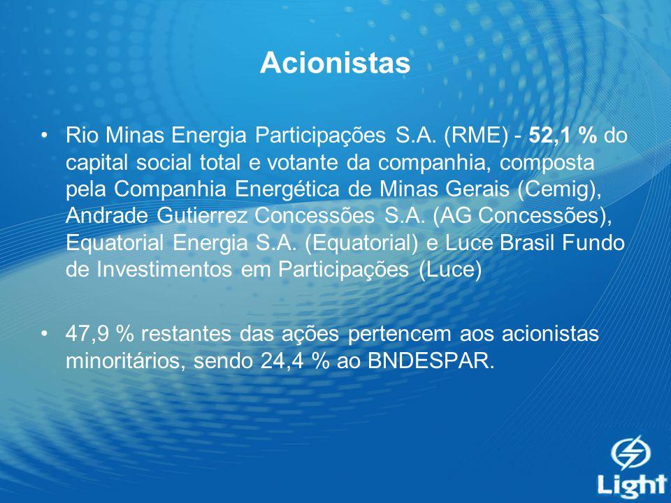 Acionistas Rio Minas Energia Participações S.A. (RME) - 52,1 % do capital social total e votante da companhia, composta pela Companhia Energética de M