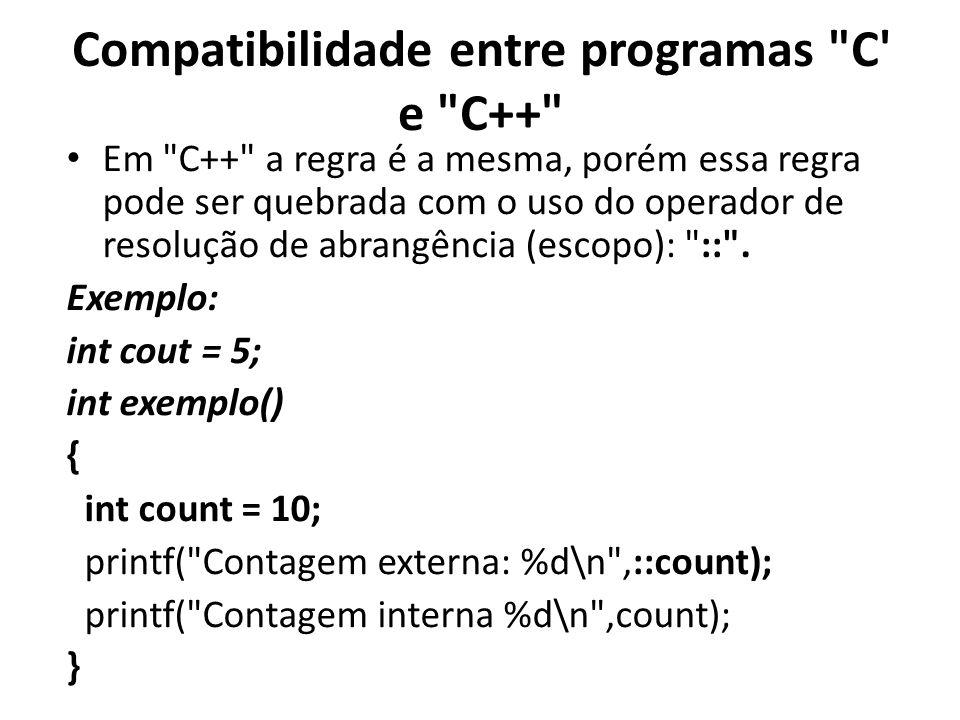 Compatibilidade entre programas C e C++ Em C++ a regra é a mesma, porém essa regra pode ser quebrada com o uso do operador de resolução de abrangência (escopo): :: .
