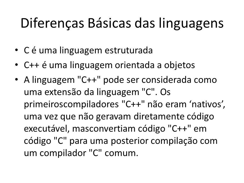 Diferenças Básicas das linguagens C é uma linguagem estruturada C++ é uma linguagem orientada a objetos A linguagem C++ pode ser considerada como uma extensão da linguagem C .