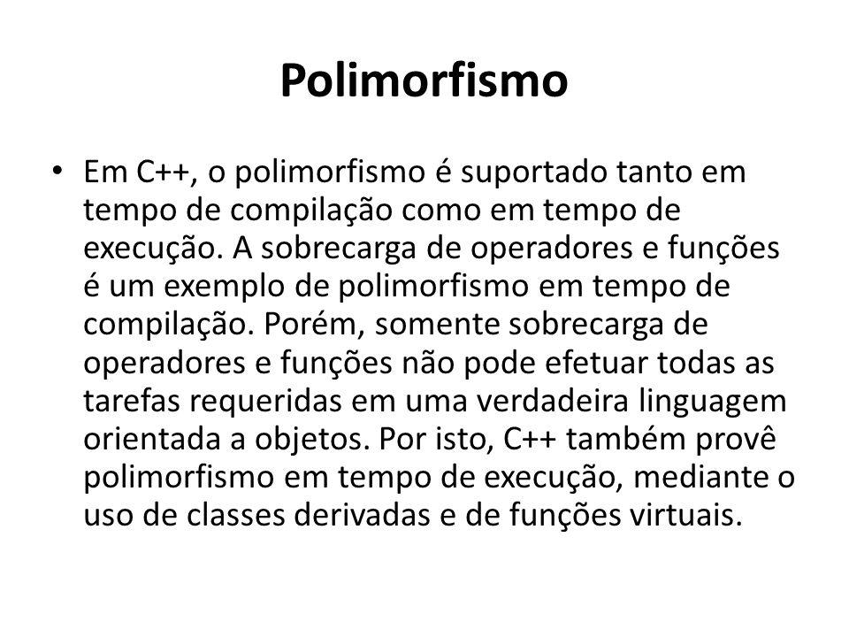 Polimorfismo Em C++, o polimorfismo é suportado tanto em tempo de compilação como em tempo de execução. A sobrecarga de operadores e funções é um exem