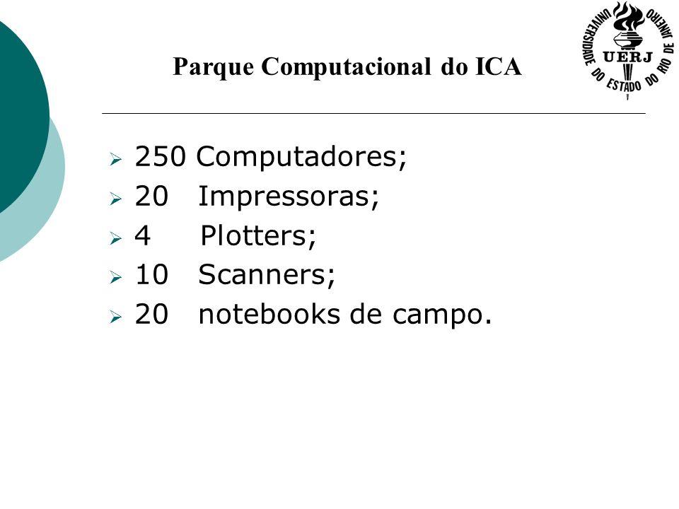 Parque Computacional do ICA 250 Computadores; 20 Impressoras; 4 Plotters; 10 Scanners; 20 notebooks de campo.