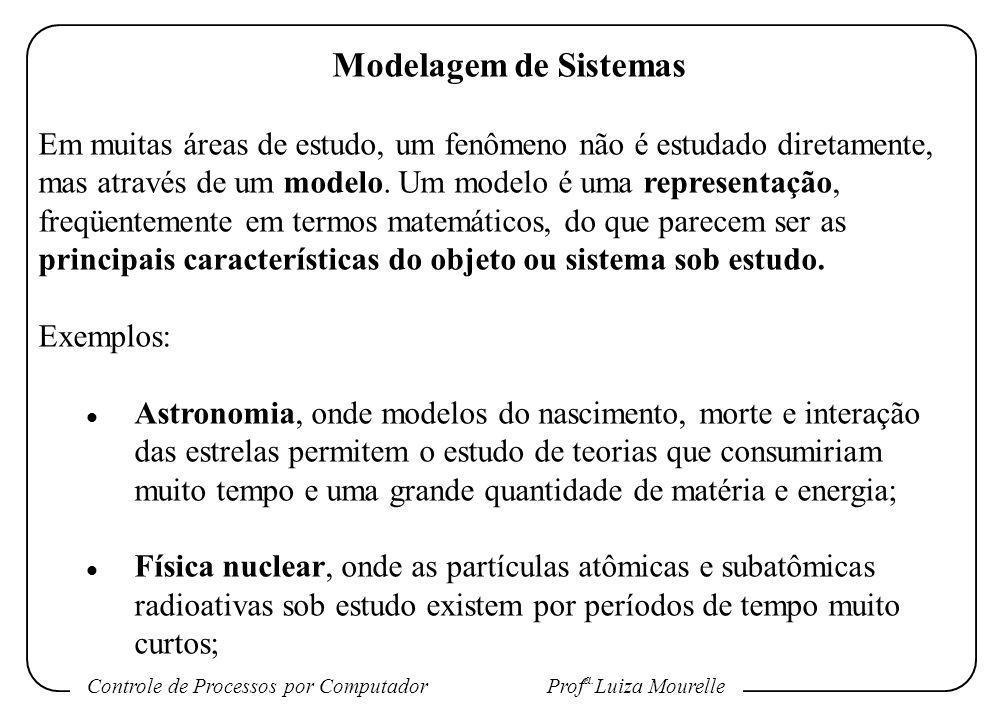 Controle de Processos por Computador Prof a. Luiza Mourelle Modelagem de Sistemas Em muitas áreas de estudo, um fenômeno não é estudado diretamente, m