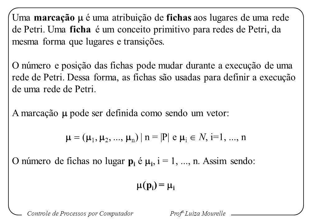 Controle de Processos por Computador Prof a. Luiza Mourelle Uma marcação é uma atribuição de fichas aos lugares de uma rede de Petri. Uma ficha é um c