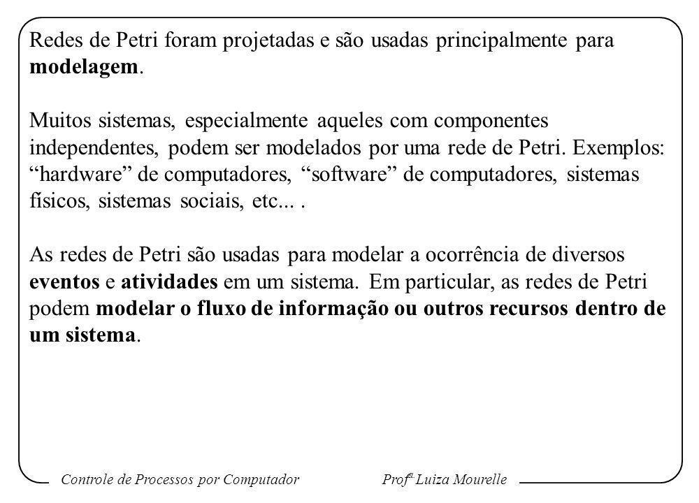 Controle de Processos por Computador Prof a. Luiza Mourelle Redes de Petri foram projetadas e são usadas principalmente para modelagem. Muitos sistema