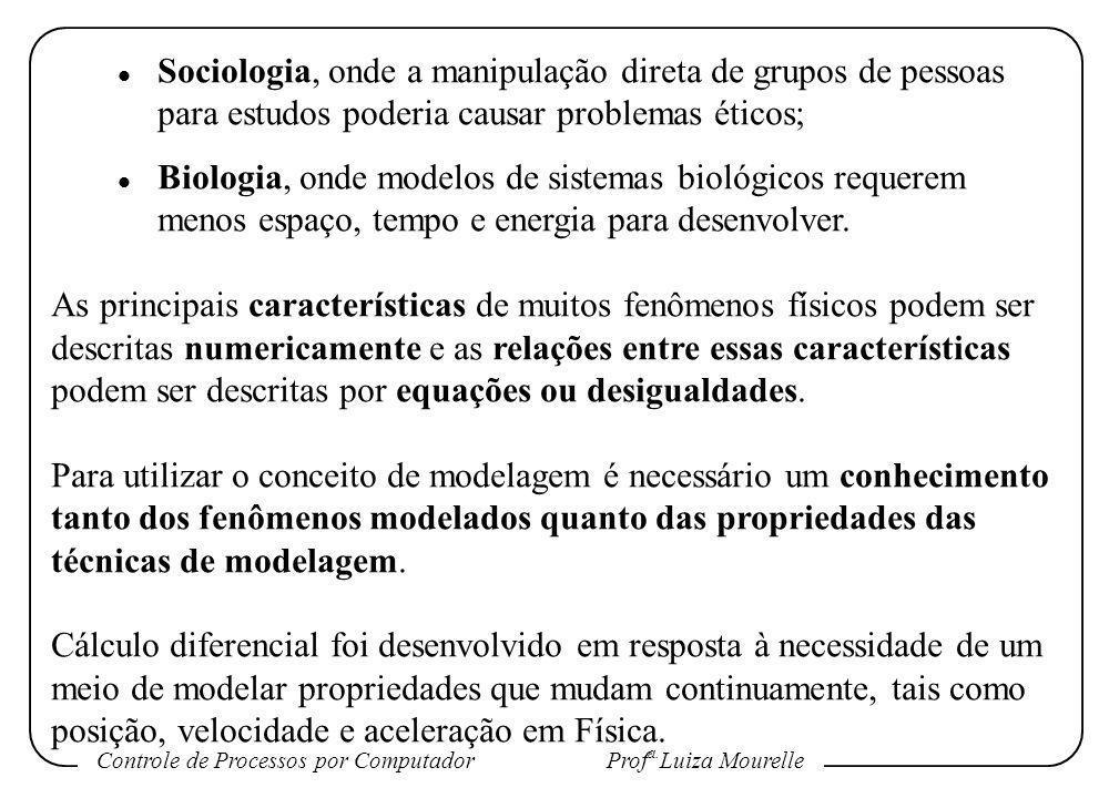 Controle de Processos por Computador Prof a. Luiza Mourelle l Sociologia, onde a manipulação direta de grupos de pessoas para estudos poderia causar p