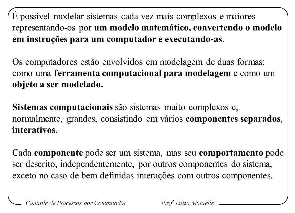 Controle de Processos por Computador Prof a. Luiza Mourelle É possível modelar sistemas cada vez mais complexos e maiores representando-os por um mode