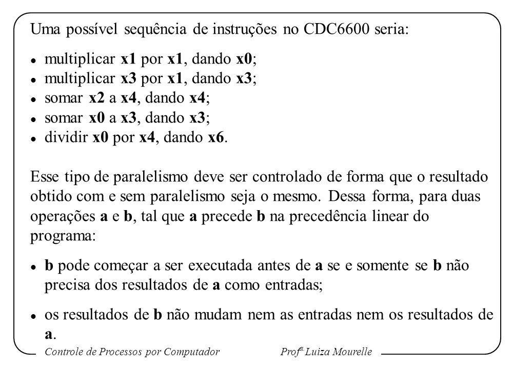 Controle de Processos por Computador Prof a. Luiza Mourelle Uma possível sequência de instruções no CDC6600 seria: l multiplicar x1 por x1, dando x0;