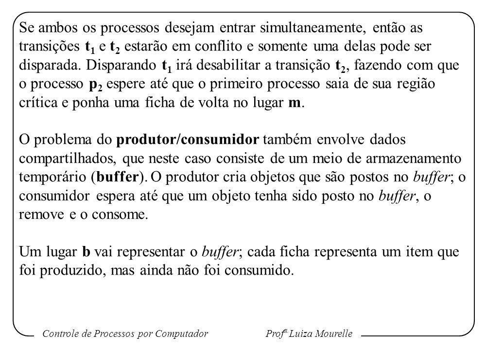 Controle de Processos por Computador Prof a. Luiza Mourelle Se ambos os processos desejam entrar simultaneamente, então as transições t 1 e t 2 estarã