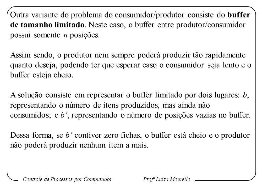 Controle de Processos por Computador Prof a. Luiza Mourelle Outra variante do problema do consumidor/produtor consiste do buffer de tamanho limitado.