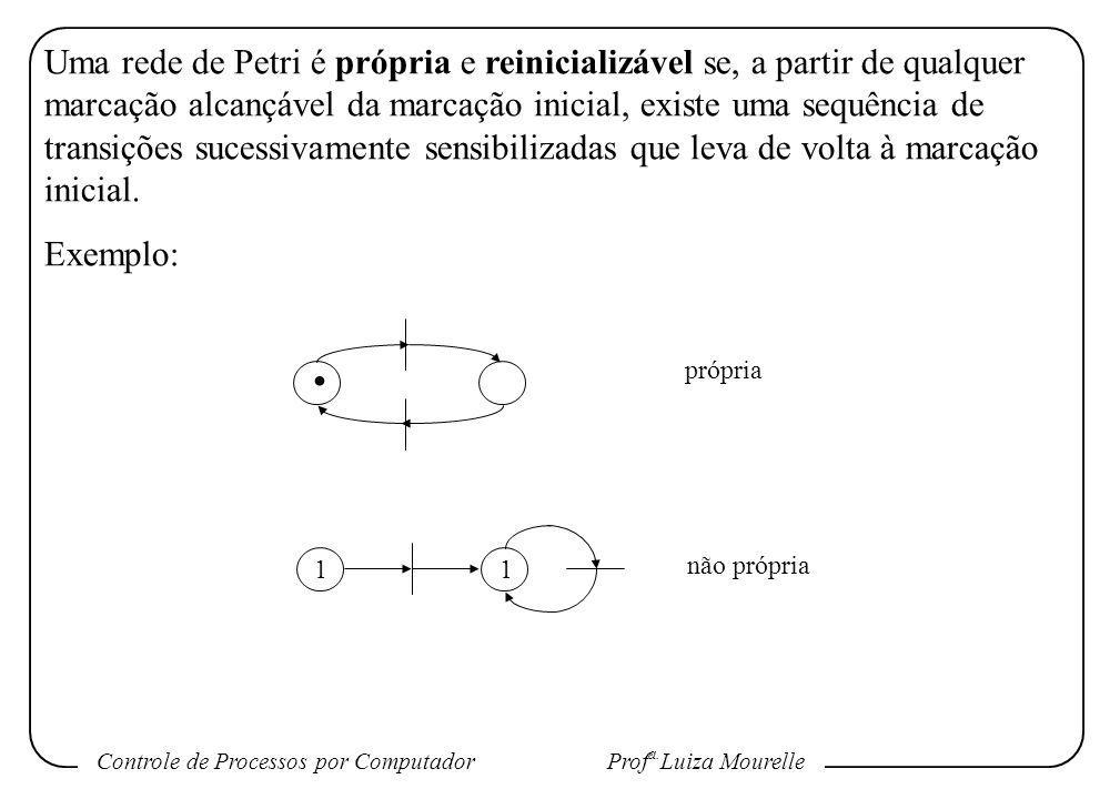 Controle de Processos por Computador Prof a. Luiza Mourelle Uma rede de Petri é própria e reinicializável se, a partir de qualquer marcação alcançável
