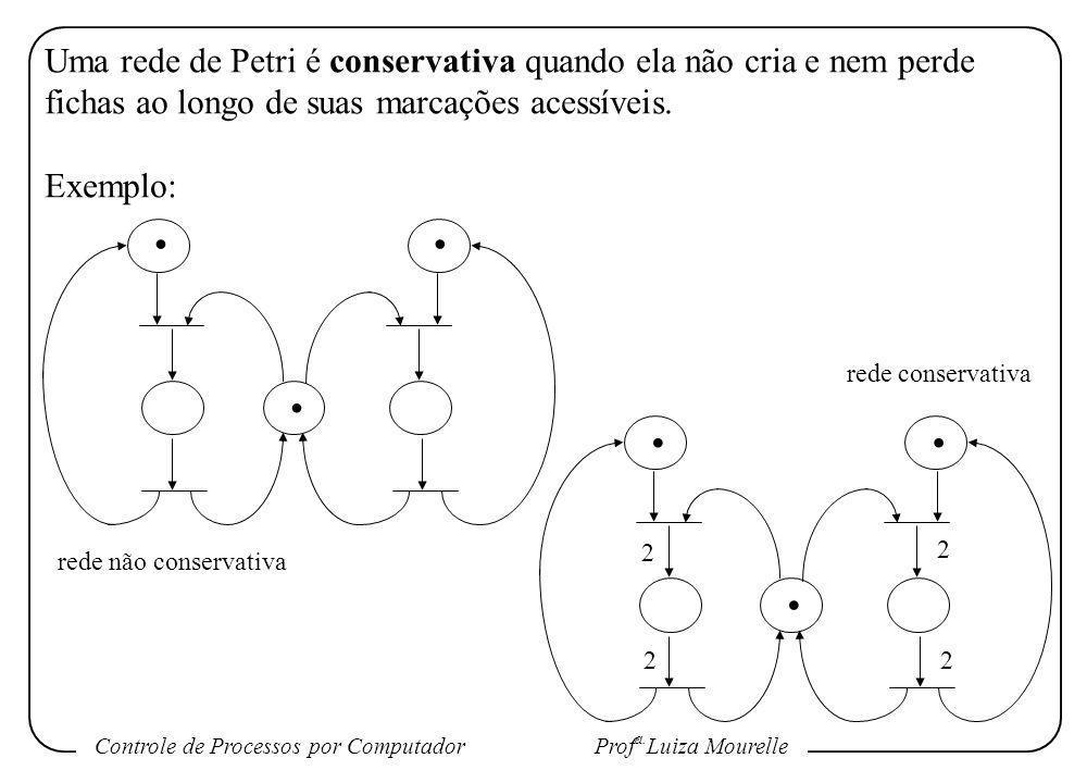 Controle de Processos por Computador Prof a. Luiza Mourelle Uma rede de Petri é conservativa quando ela não cria e nem perde fichas ao longo de suas m