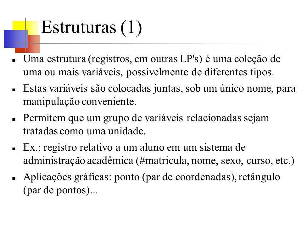 Estruturas e funções (4) Funções para realizar aritmética com pontos.