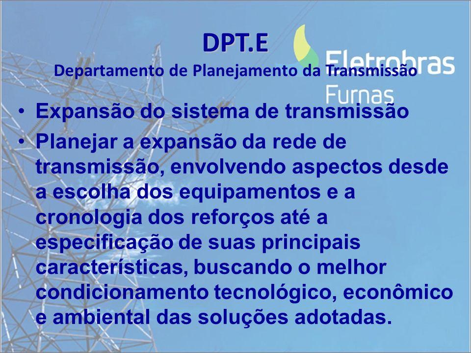 DPT.E DPT.E Departamento de Planejamento da Transmissão Expansão do sistema de transmissão Planejar a expansão da rede de transmissão, envolvendo aspe