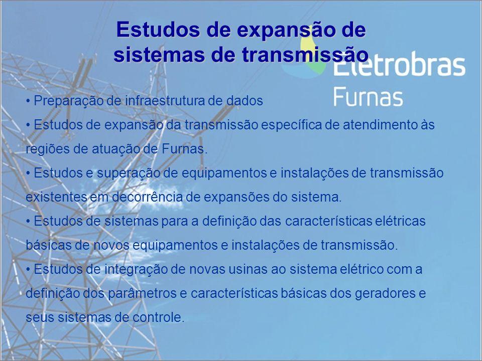 Estudos de expansão de sistemas de transmissão Preparação de infraestrutura de dados Estudos de expansão da transmissão específica de atendimento às r