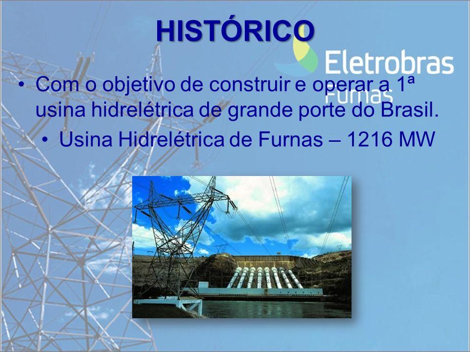 HISTÓRICO Com o objetivo de construir e operar a 1ª usina hidrelétrica de grande porte do Brasil. Usina Hidrelétrica de Furnas – 1216 MW