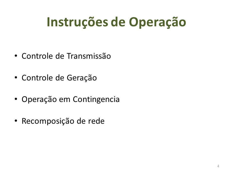 Instruções de Operação 4 Controle de Transmissão Controle de Geração Operação em Contingencia Recomposição de rede