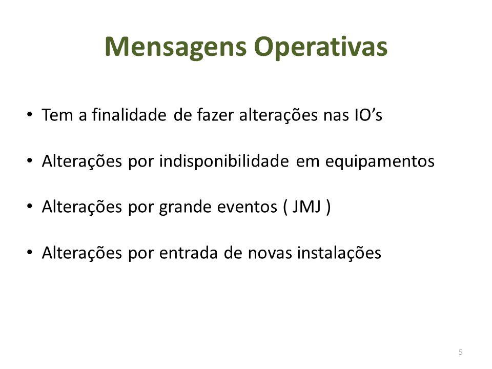 Mensagens Operativas 5 Tem a finalidade de fazer alterações nas IOs Alterações por indisponibilidade em equipamentos Alterações por grande eventos ( JMJ ) Alterações por entrada de novas instalações