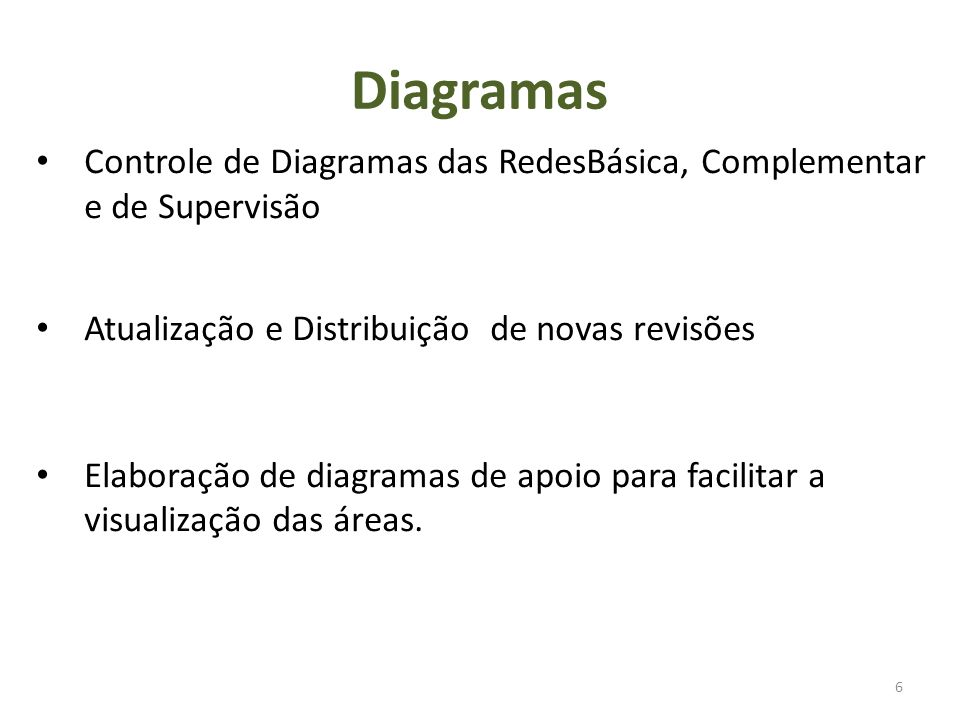 Diagramas 6 Controle de Diagramas das RedesBásica, Complementar e de Supervisão Atualização e Distribuição de novas revisões Elaboração de diagramas de apoio para facilitar a visualização das áreas.