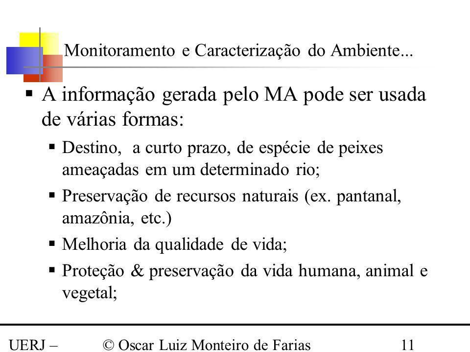 UERJ – Março 2008 © Oscar Luiz Monteiro de Farias11 A informação gerada pelo MA pode ser usada de várias formas: Destino, a curto prazo, de espécie de