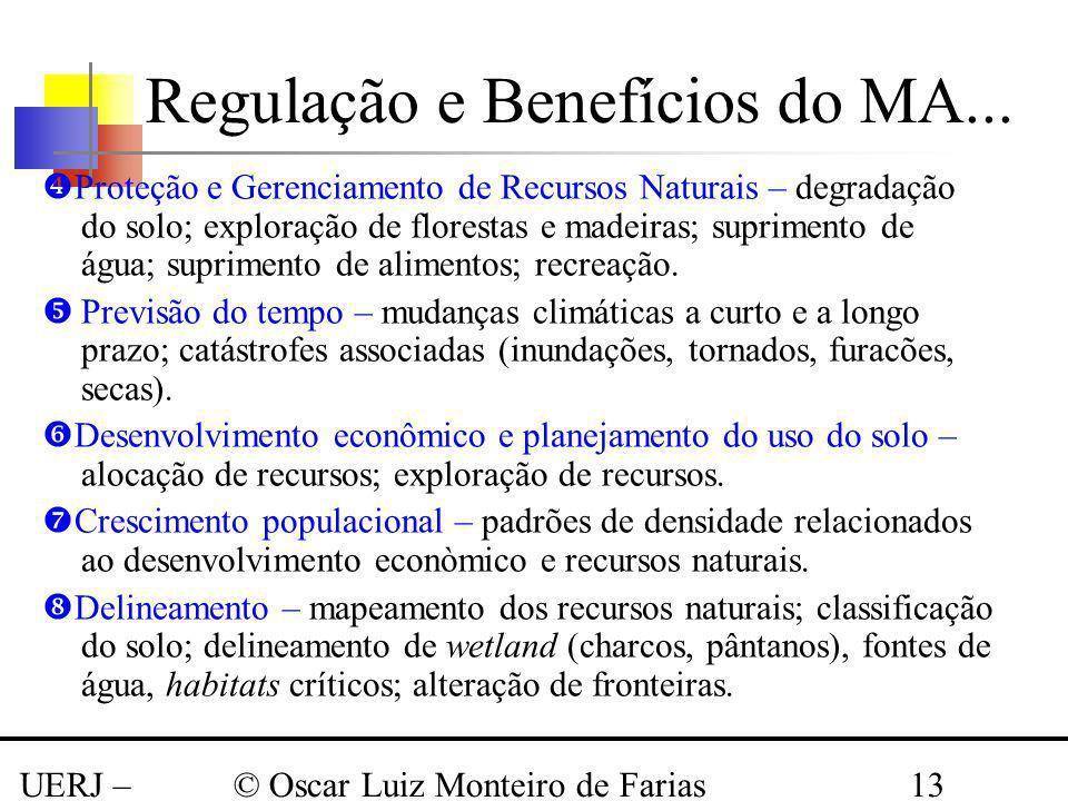 UERJ – Março 2008 © Oscar Luiz Monteiro de Farias13 Proteção e Gerenciamento de Recursos Naturais – degradação do solo; exploração de florestas e made