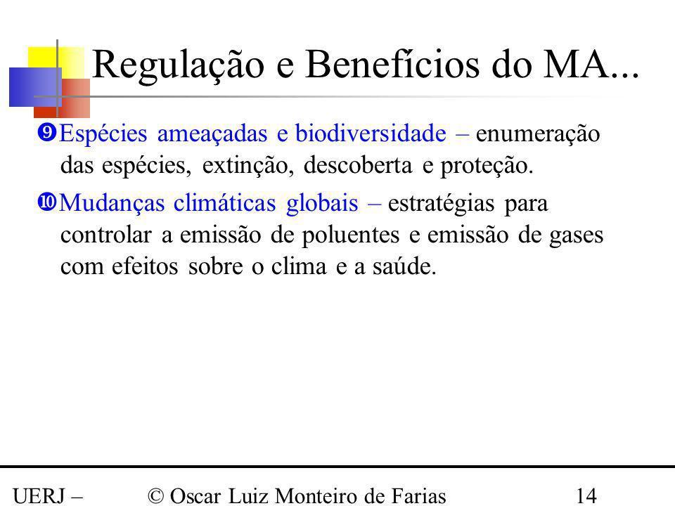 UERJ – Março 2008 © Oscar Luiz Monteiro de Farias14 Espécies ameaçadas e biodiversidade – enumeração das espécies, extinção, descoberta e proteção. Mu