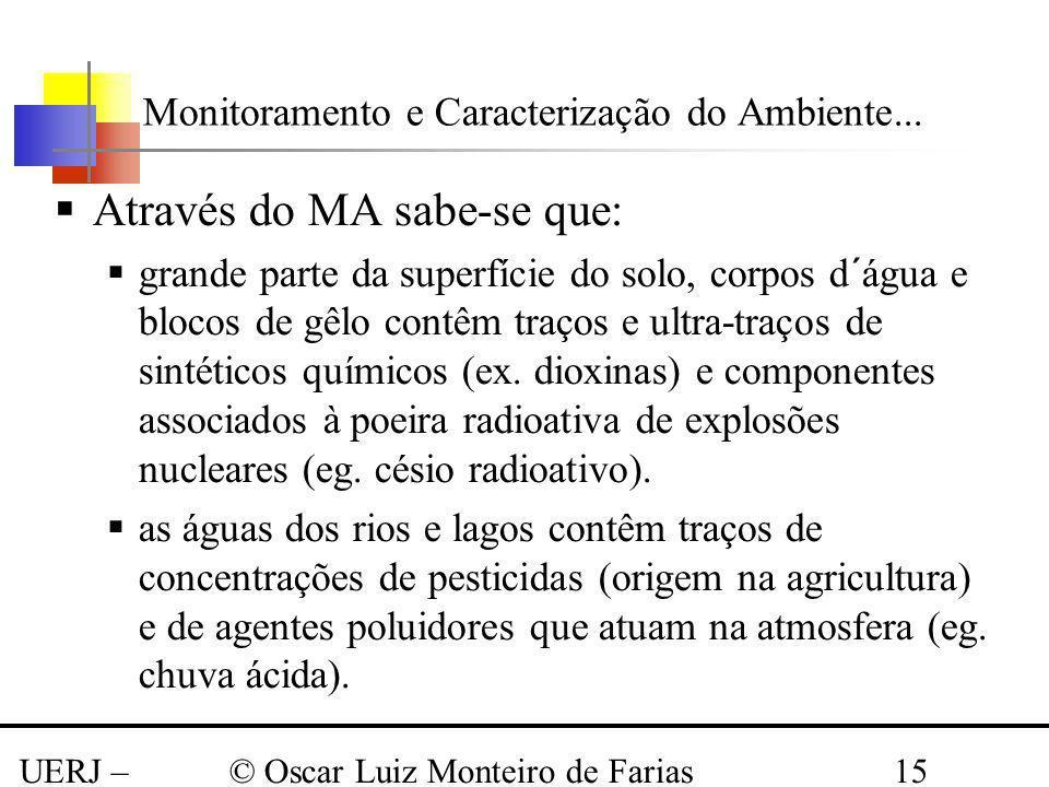 UERJ – Março 2008 © Oscar Luiz Monteiro de Farias15 Através do MA sabe-se que: grande parte da superfície do solo, corpos d´água e blocos de gêlo cont