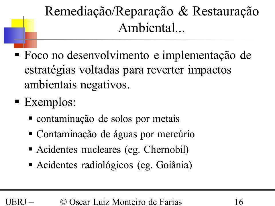 UERJ – Março 2008 © Oscar Luiz Monteiro de Farias16 Remediação/Reparação & Restauração Ambiental... Foco no desenvolvimento e implementação de estraté