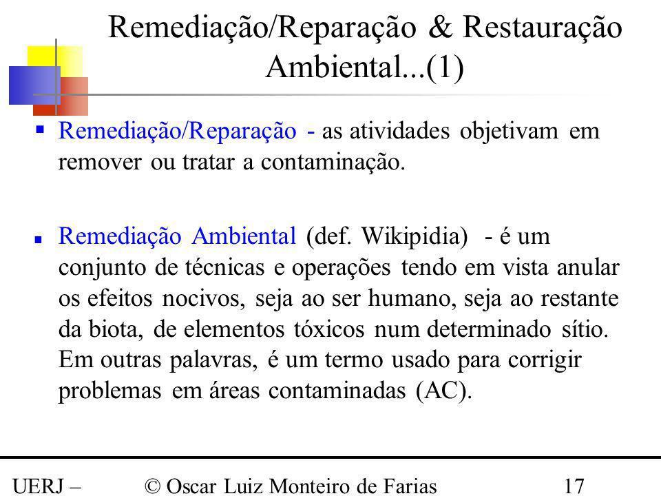 UERJ – Março 2008 © Oscar Luiz Monteiro de Farias17 Remediação/Reparação - as atividades objetivam em remover ou tratar a contaminação. Remediação Amb