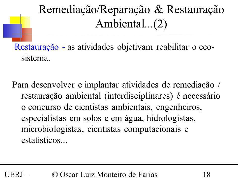 UERJ – Março 2008 © Oscar Luiz Monteiro de Farias18 Remediação/Reparação & Restauração Ambiental...(2) Restauração - as atividades objetivam reabilita
