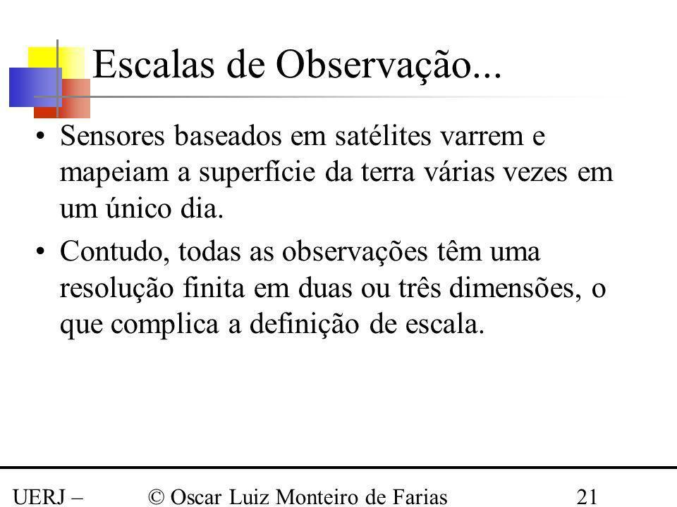 UERJ – Março 2008 © Oscar Luiz Monteiro de Farias21 Sensores baseados em satélites varrem e mapeiam a superfície da terra várias vezes em um único dia