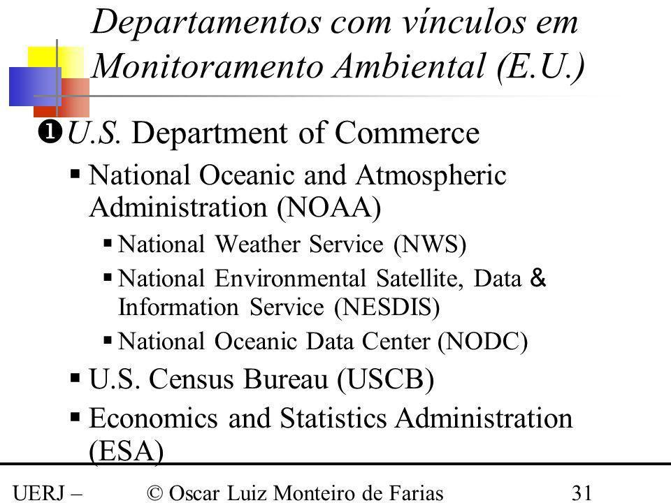 UERJ – Março 2008 © Oscar Luiz Monteiro de Farias31 Departamentos com vínculos em Monitoramento Ambiental (E.U.) U.S. Department of Commerce National