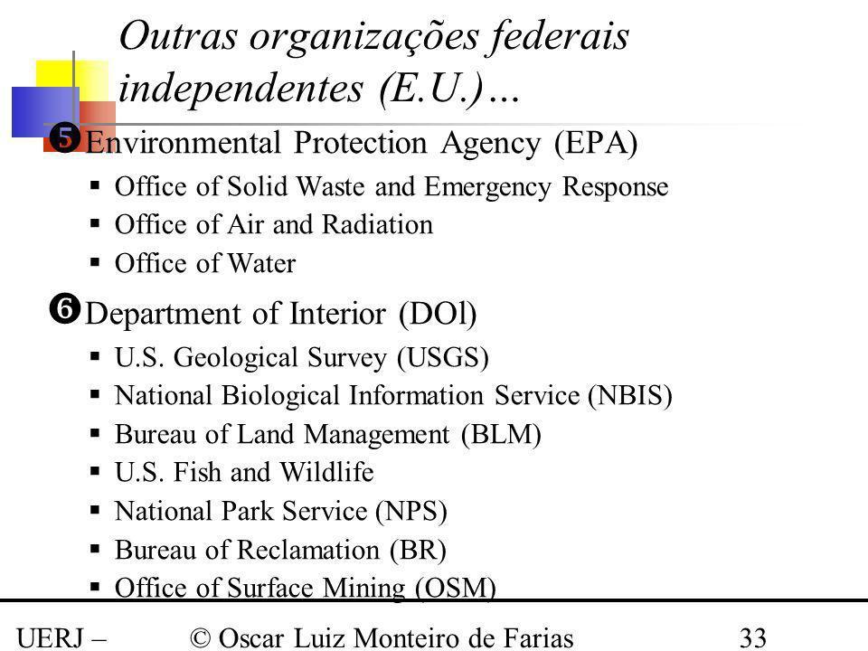 UERJ – Março 2008 © Oscar Luiz Monteiro de Farias33 Outras organizações federais independentes (E.U.)… Environmental Protection Agency (EPA) Office of