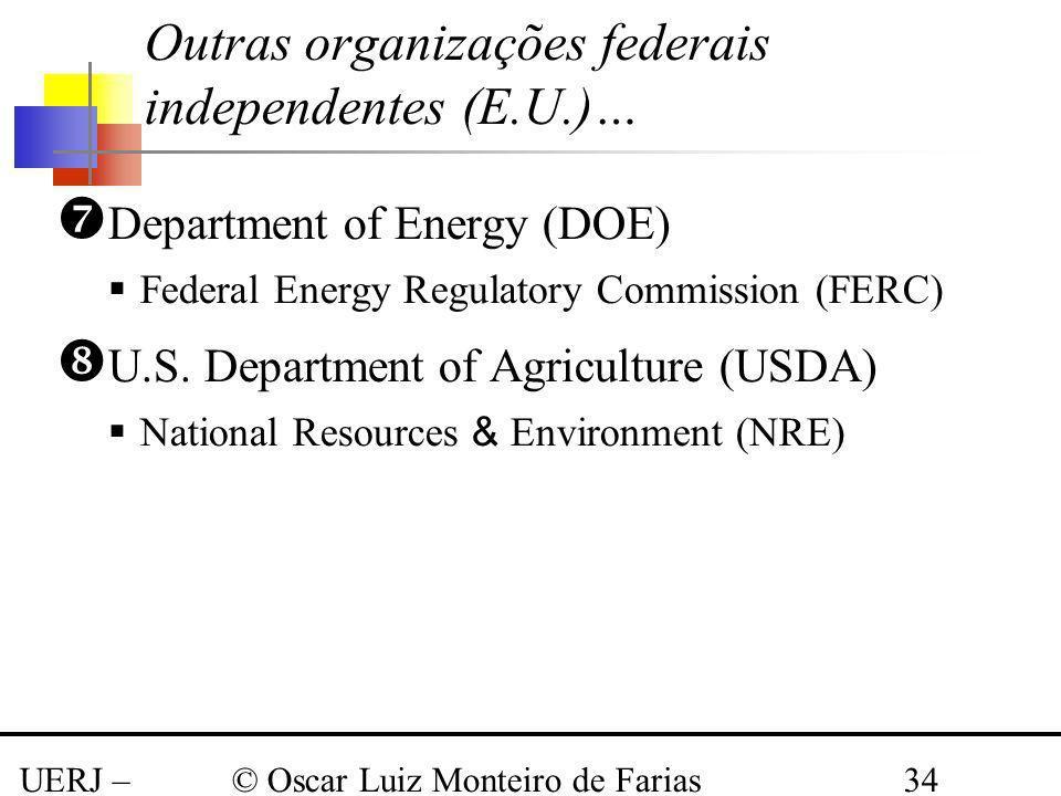 UERJ – Março 2008 © Oscar Luiz Monteiro de Farias34 Outras organizações federais independentes (E.U.)… Department of Energy (DOE) Federal Energy Regul