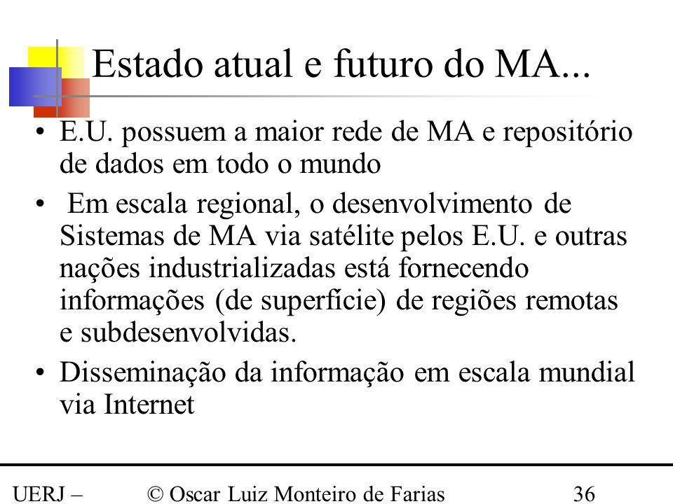 UERJ – Março 2008 © Oscar Luiz Monteiro de Farias36 Estado atual e futuro do MA... E.U. possuem a maior rede de MA e repositório de dados em todo o mu