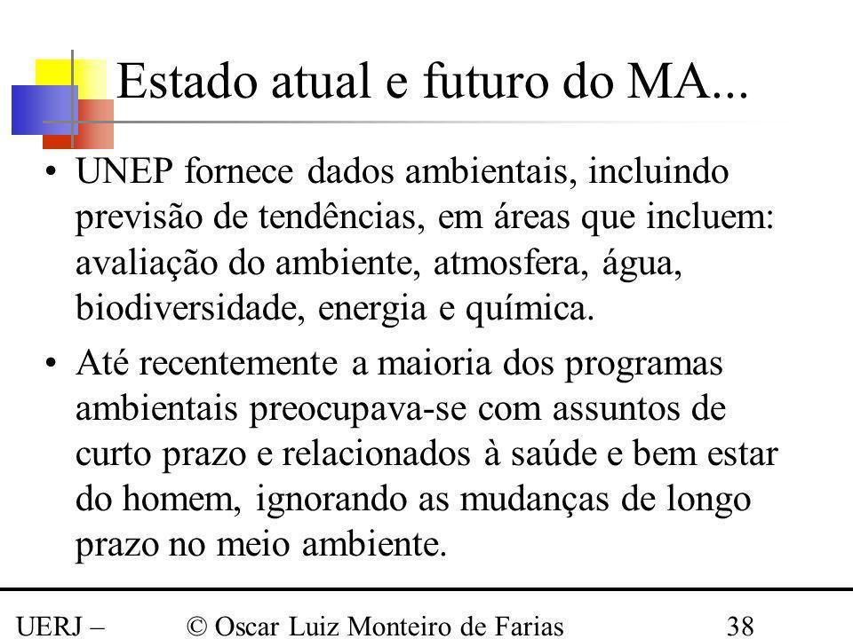 UERJ – Março 2008 © Oscar Luiz Monteiro de Farias38 UNEP fornece dados ambientais, incluindo previsão de tendências, em áreas que incluem: avaliação d
