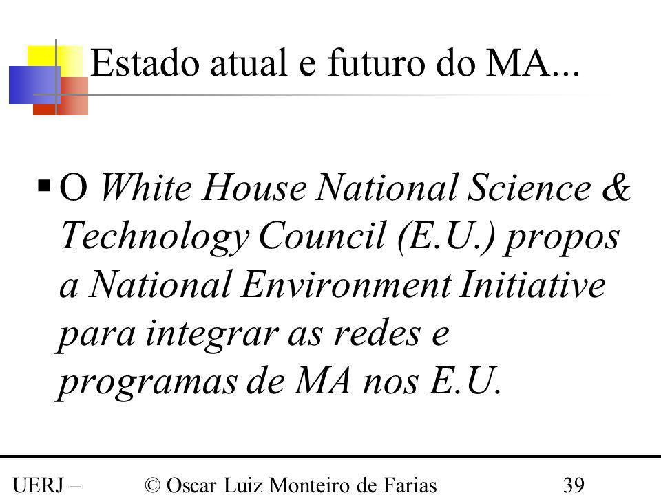 UERJ – Março 2008 © Oscar Luiz Monteiro de Farias39 O White House National Science & Technology Council (E.U.) propos a National Environment Initiativ