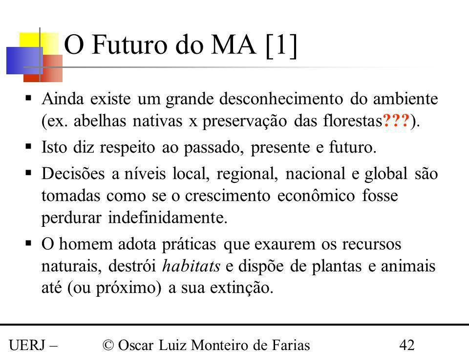 UERJ – Março 2008 © Oscar Luiz Monteiro de Farias42 O Futuro do MA [1] Ainda existe um grande desconhecimento do ambiente (ex. abelhas nativas x prese