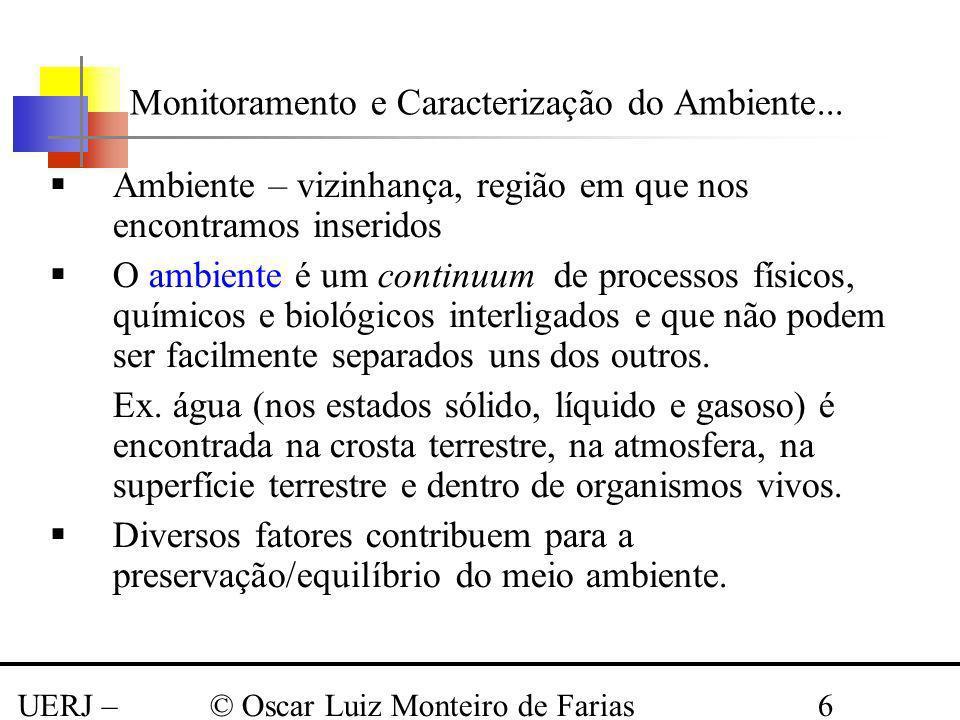 UERJ – Março 2008 © Oscar Luiz Monteiro de Farias6 Monitoramento e Caracterização do Ambiente... Ambiente – vizinhança, região em que nos encontramos